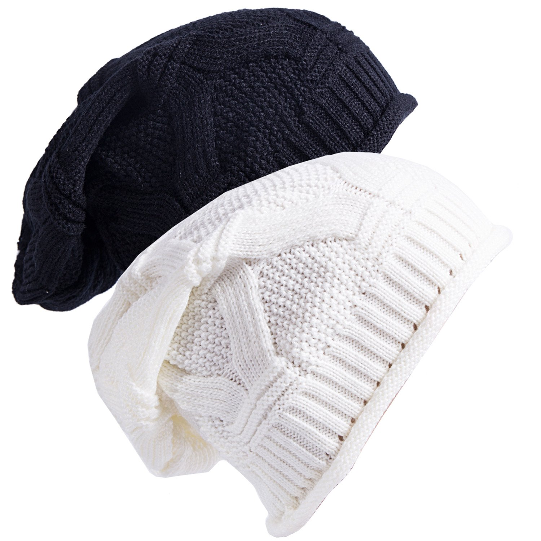 5ed16bac33c Senker Slouchy Beanie Cap Knit Soft Cozy Oversized Long Hats for Women and  Men