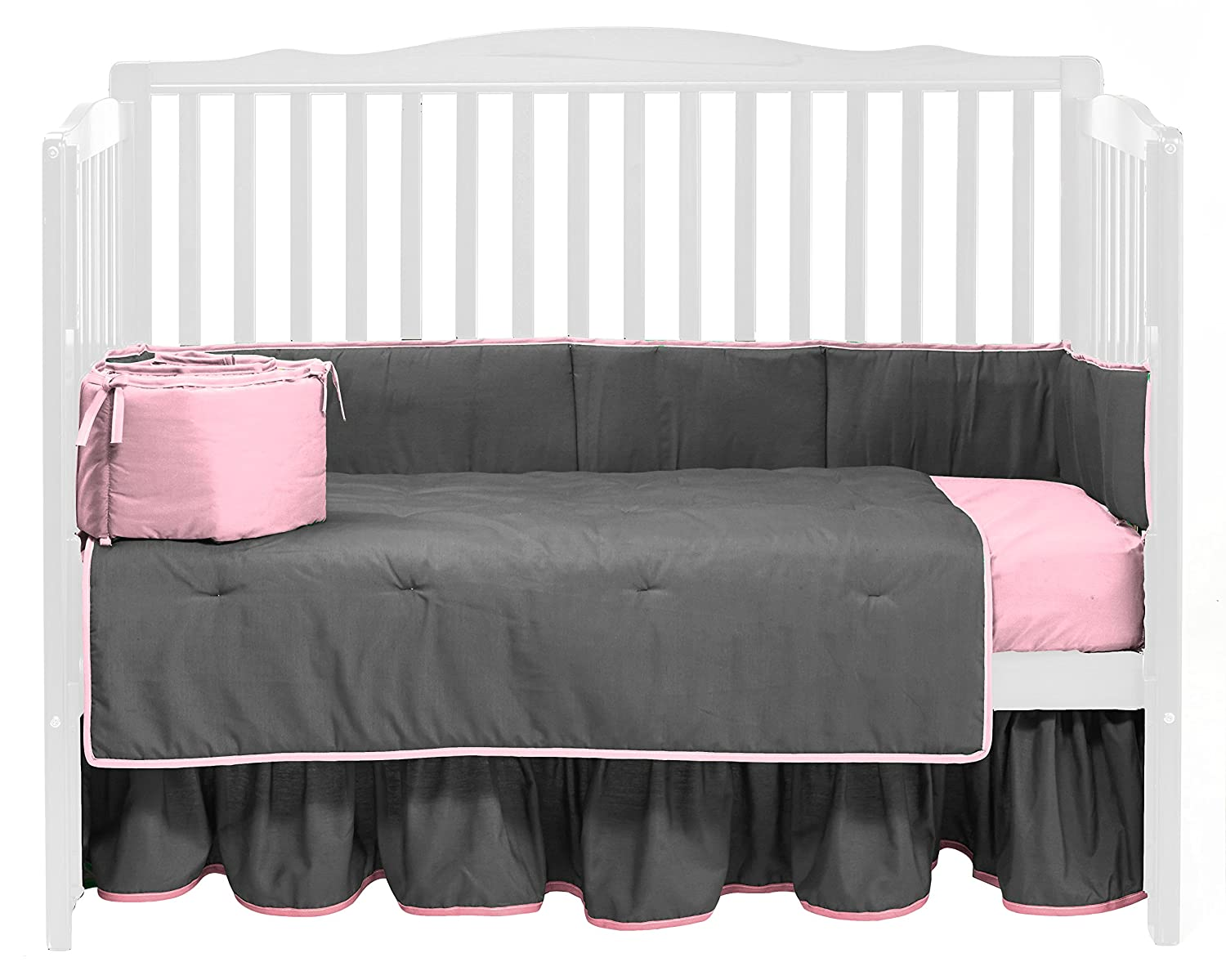 Baby Doll Bedding Solid Reversible Crib Bedding Set, Grey/Pink by BabyDoll Bedding   B00JGNYIQY