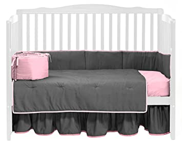 Grey//Pink Baby Doll Bedding Solid Two Tone Crib Skirt//Dust Ruffle