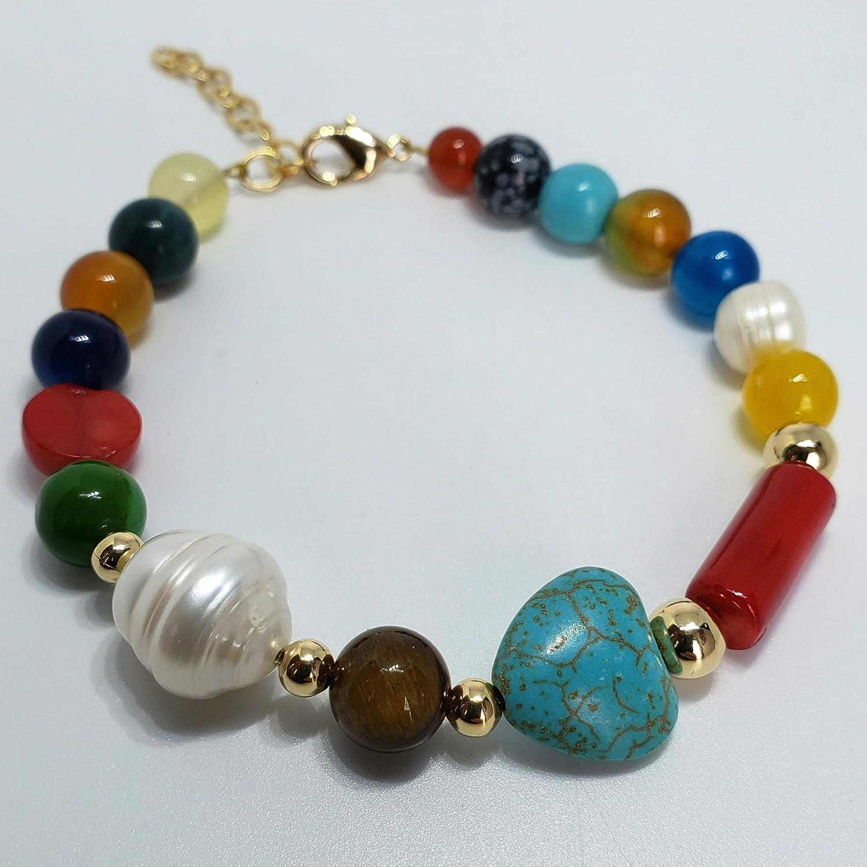Energy Prosperity and Happiness Bracelet. Pearl Coral Turquoise Bracelet Pearl and Multi Stone Bracelet Agate Quartz Tiger Eye Genuine Gemstones bracelet by DMundo Accesorios