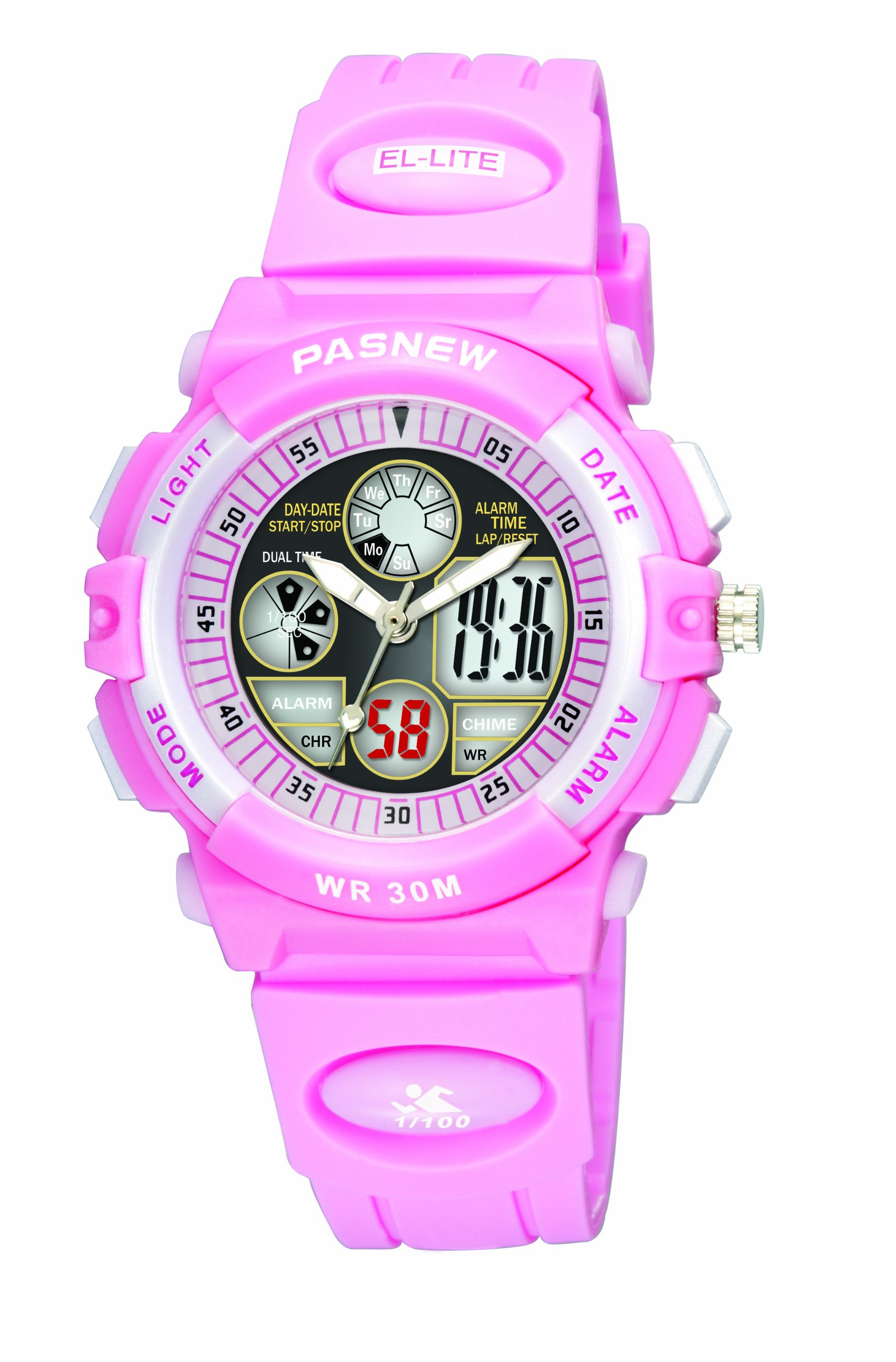 30m Water-proof Digital-analog Boys Girls Sport Digital Watch with Alarm Stopwatch Chronograph (Child) 6 Colors (Pink)
