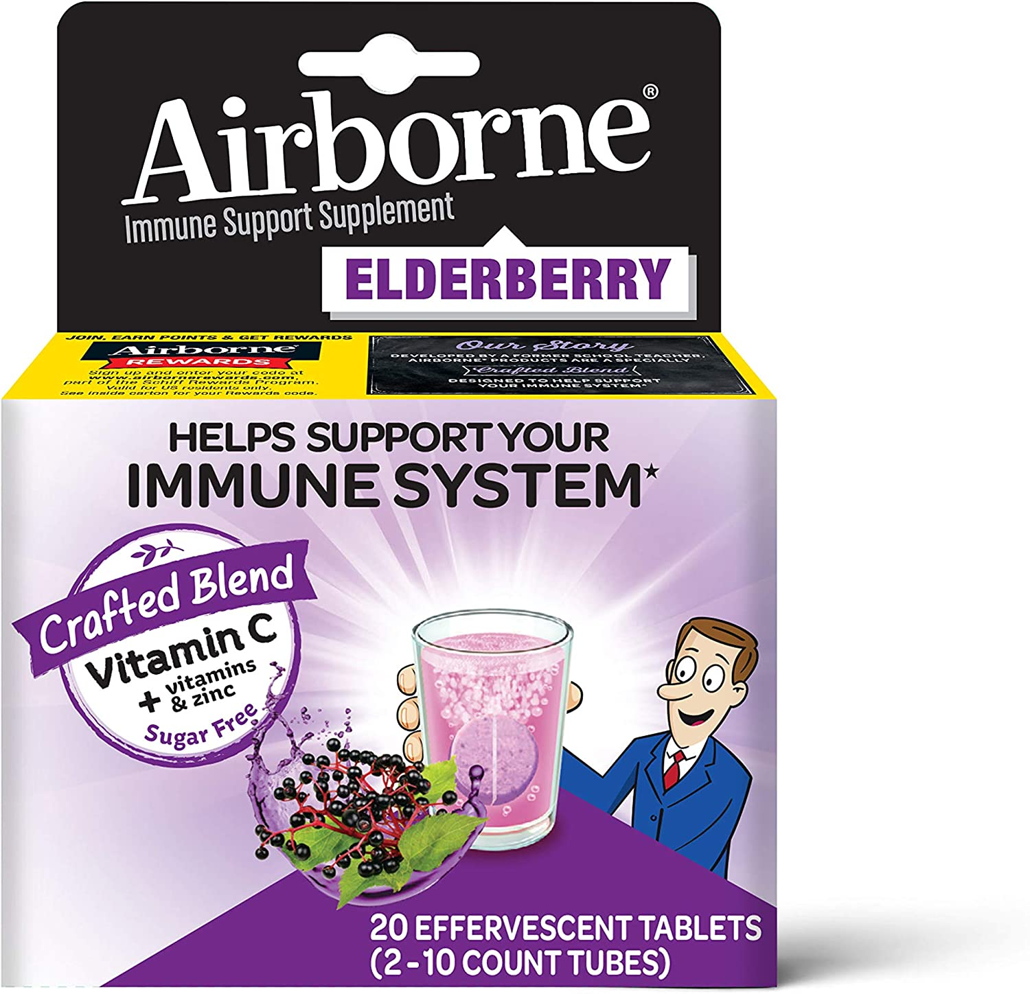 Elderberry Extract + Vitamin C - Airborne Effervescent Tablets (20 count in a box), Immune Support Supplement With Zinc & Vitamins C D E, Gluten Free, Sambucus, Antioxidant: Health & Personal Care
