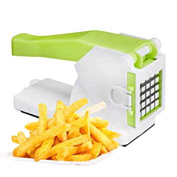 Relaxdays – 10024688 Cortador de patatas con 2 bandejas, profesional cortador de verduras, Manual