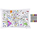 Doodle World Map Pillowcase, Color Your Own Pillow Case, Coloring Pillowcase with 10 Washable Fabric Markers