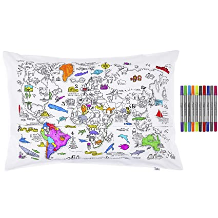 Amazon.com: Doodle World Map Pillowcase, Color Your Own Pillow
