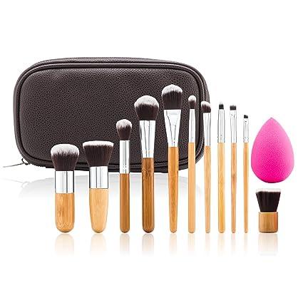 Nuevo 12 piezas Juego de cepillo de maquillaje de bambú, pelo ...
