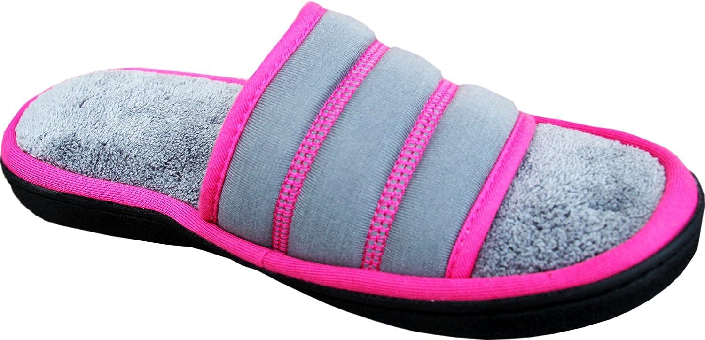 ISOTONER Women's Terry Jersey Selena Slide Slippers | Indoor Outdoor Memory Foam Slipper with 360 Comfort