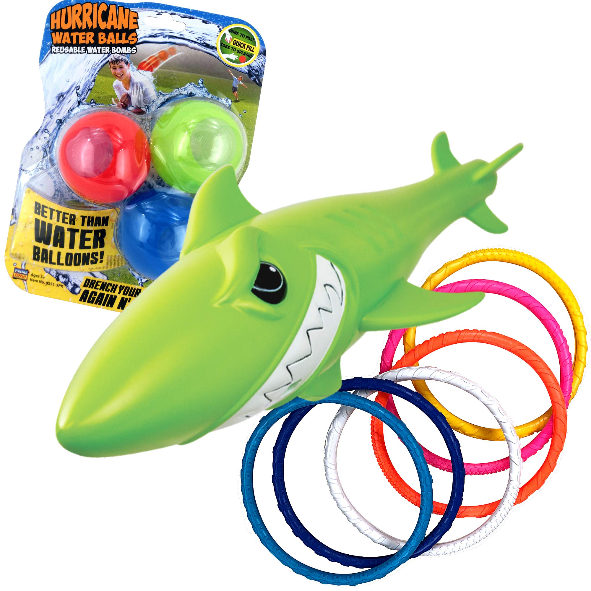 Prime Time Toys Summer Water Fun Pack: Diving Masters Sharkpedo - Dizzy Dive Rings 6 Pack - Hurricane Reusable Water Balls 3 Pack by Prime Time Toys