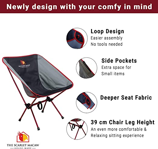 Hiking /  Outdoor Ultra Lightweight Comfy Deep Seat / Scarlet Macaw Houseware Compact Folding Chair with Easy-to-Carry Bag Backpacking Travel Quick Setup Camping Chair for Beach