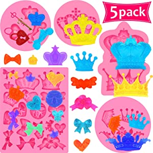 5 Pieces Crown Fondant Silicone Molds Crown Bows Heart Mold Chocolate Candy Mold for Cake Cupcake Topper Decoration, Pastry, Cookie Decor, Chocolate, Jewelry, Crafting Project