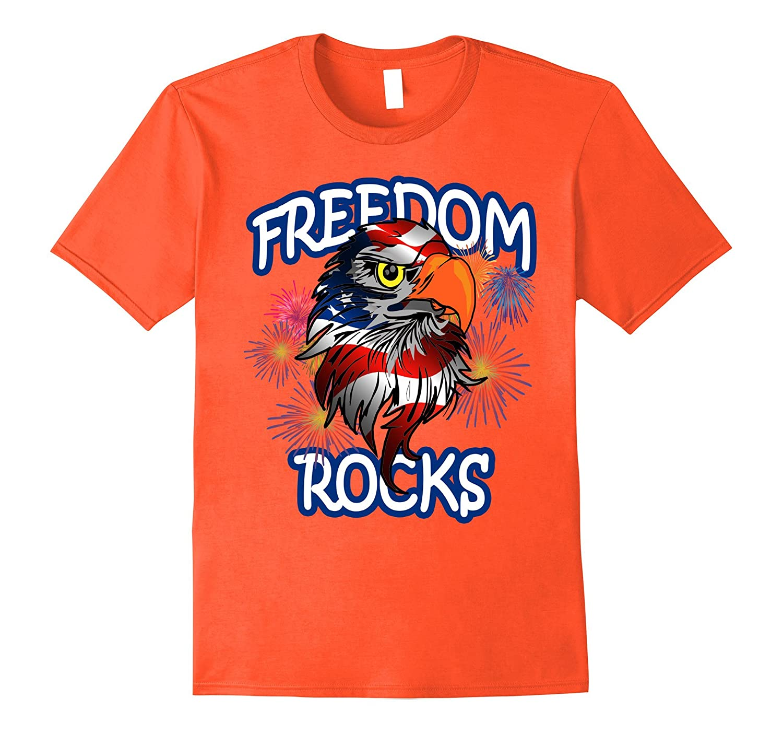 4th of July Patriotic American Flag T-shirt  FREEDOM ROCKS-PL