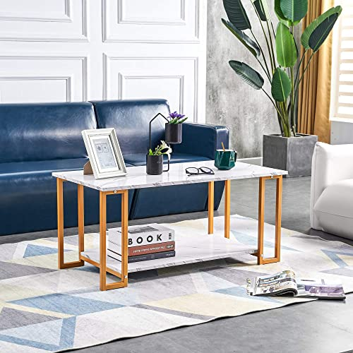 Depointer Rectangle Faux Marble Coffee Table Table-Modern Side Coffee Table