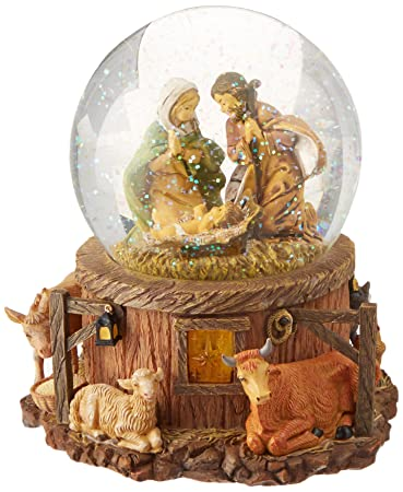 roman 75 inch musical lighted fontanini nativity stable scene christmas glitterdome snow globe