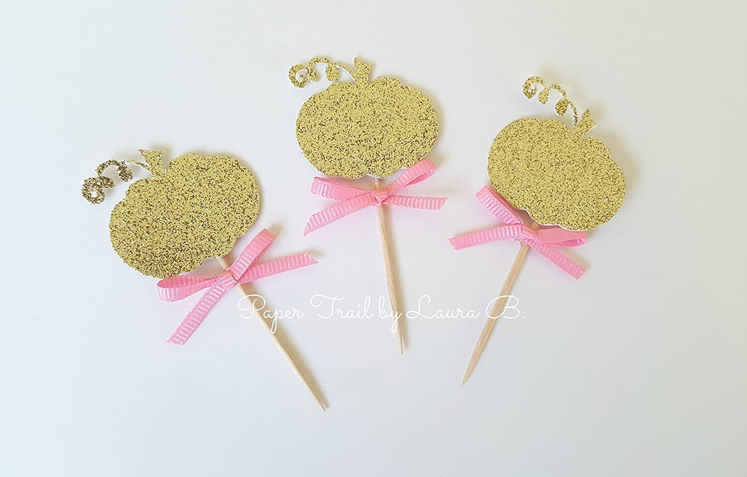 10 Gold Glitter Cupcake Topper with Bright Pink Bow. Little Pumpkin Party Decorations. 1st Birthday Party Decorations. Fall Baby. FREE SHIPPING!