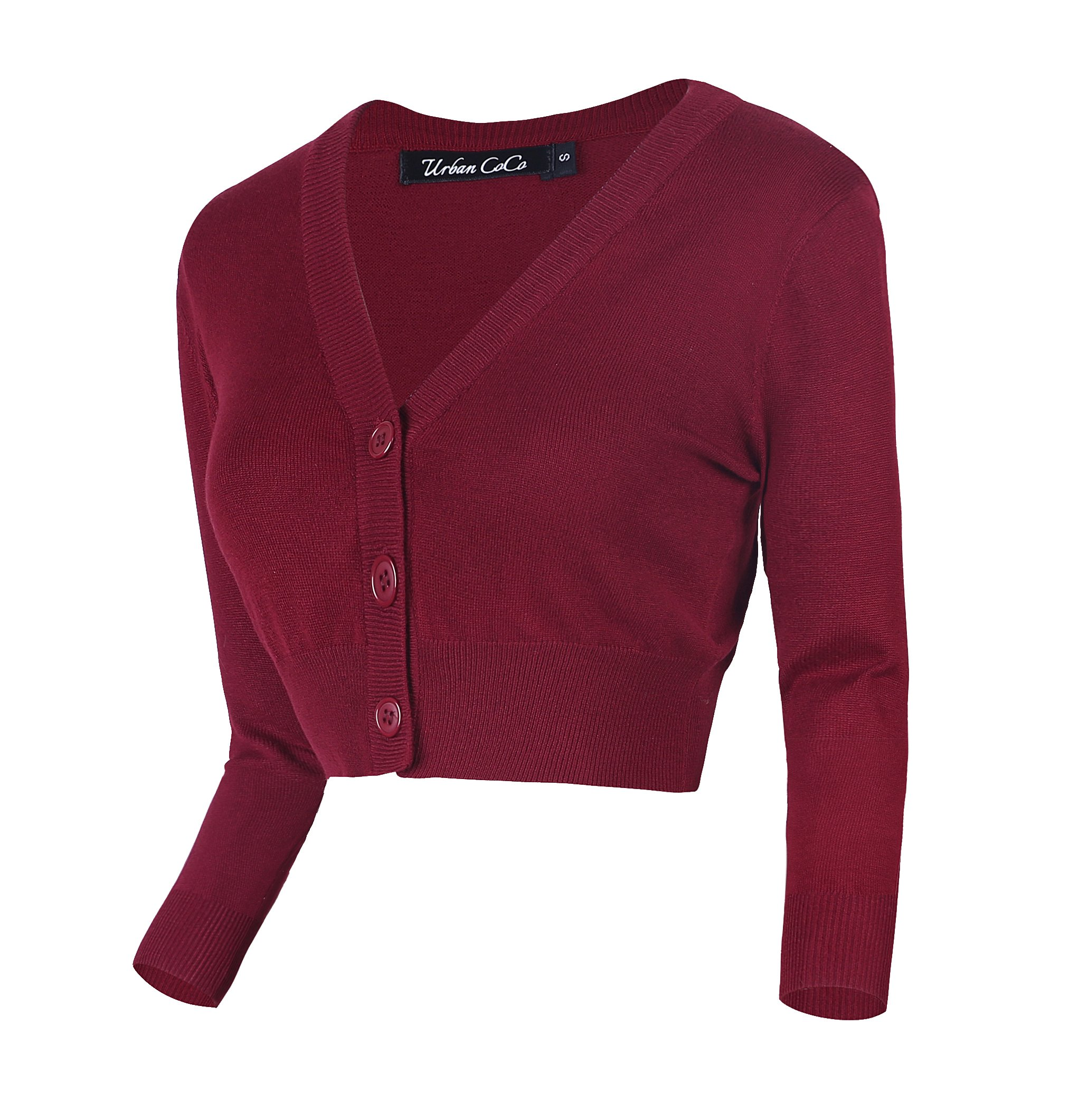 Urban CoCo Women's Cropped Cardigan V-Neck Button Down Knitted Sweater 3/4 Sleeve (M, Wine red)