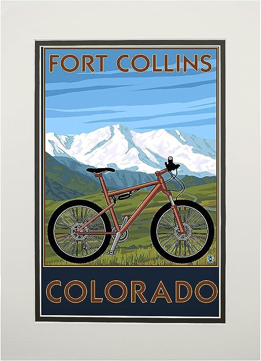 Fort Collins, Colorado – para bicicleta de montaña, papel, Multicolor, 11 x 14 Matted Art Print: Amazon.es: Hogar