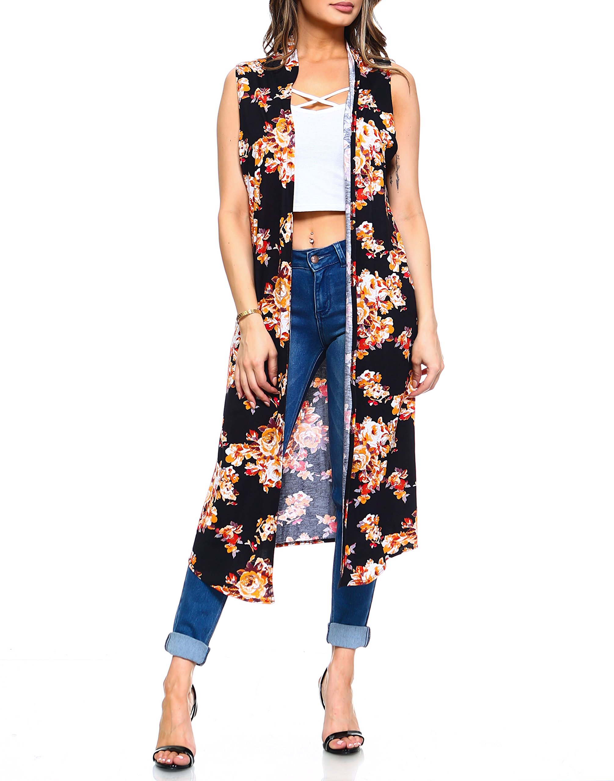 Isaac Liev Women's Floral Long Lightweight Cardigan Duster Vest (Black Floral, Small)
