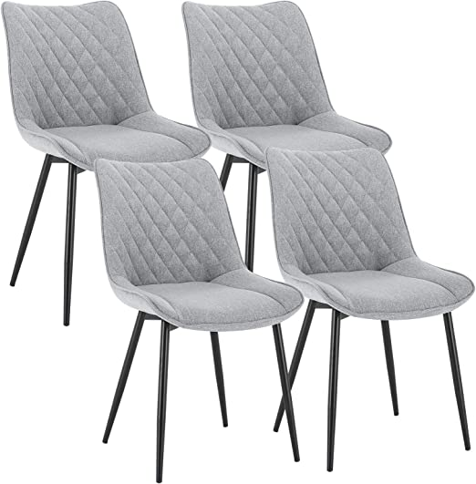 WOLTU Dining Chairs Set of 6 pcs Kitchen Counter Chairs Lounge Leisure Living Room Corner Chairs Dark Grey Linen Reception Chairs with Backrest and Padded Seat