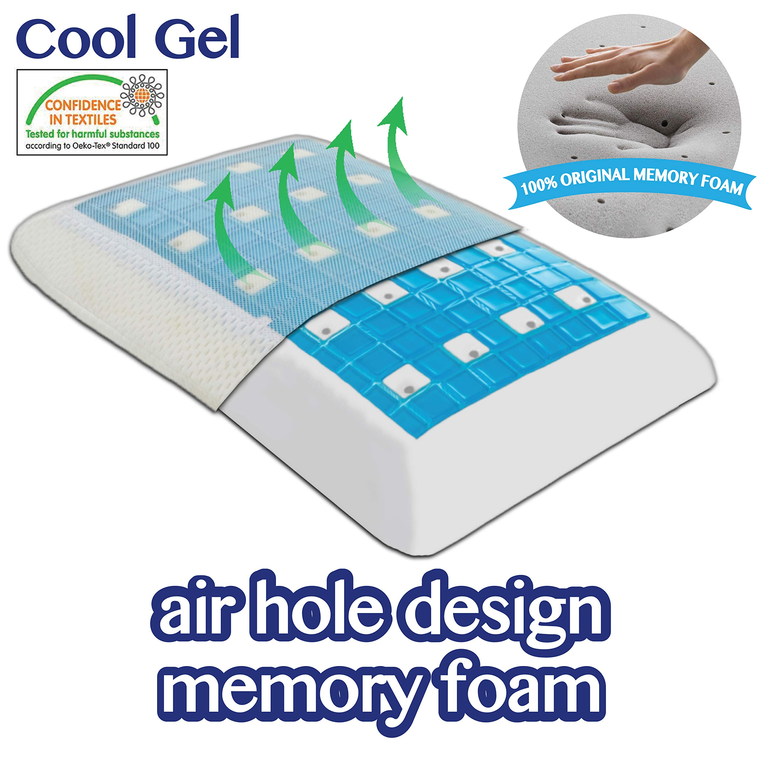 Comfyt Cooling Pillow - Gel Pillow - Ventilated Air Flow Design Memory Foam Pillow - Bamboo Pillow - Soft Removable Washable Bamboo Cover Orthopedic Pillow Cervical Pillow Bed Pillow Sleeping Pillow