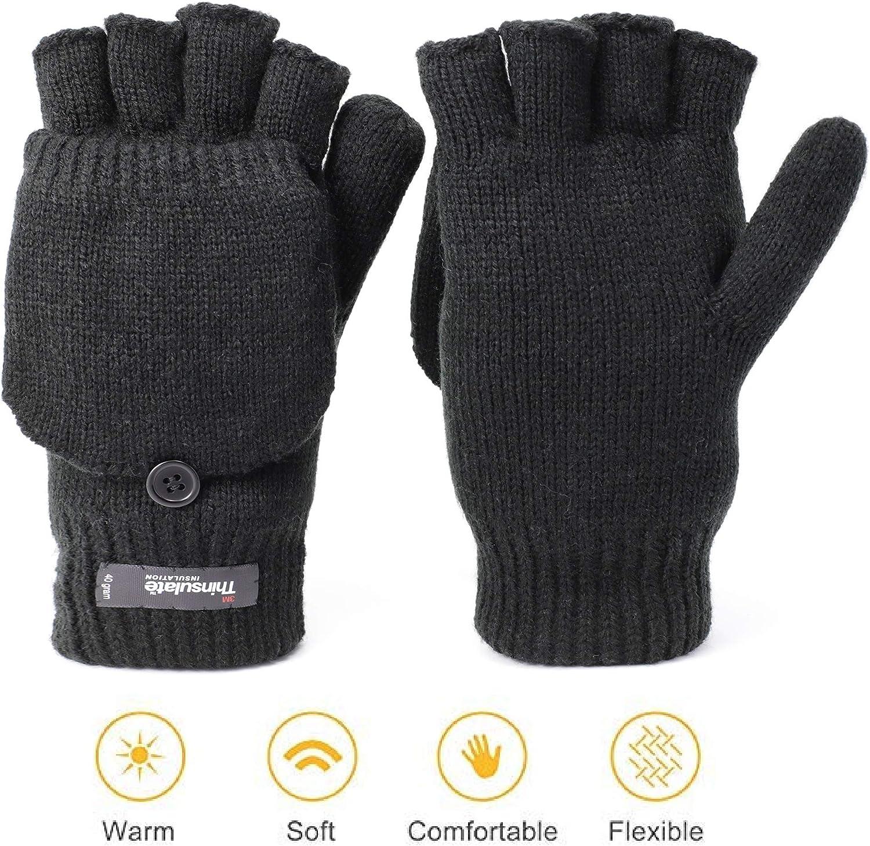 Zeltauto Guantes de punto sin dedos para hombre con guante convertidor