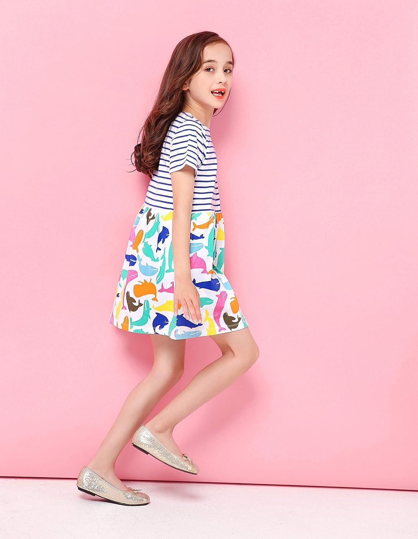 Fiream Girls Summer Casual Dresses Cotton Short Sleeves Flower Dresses