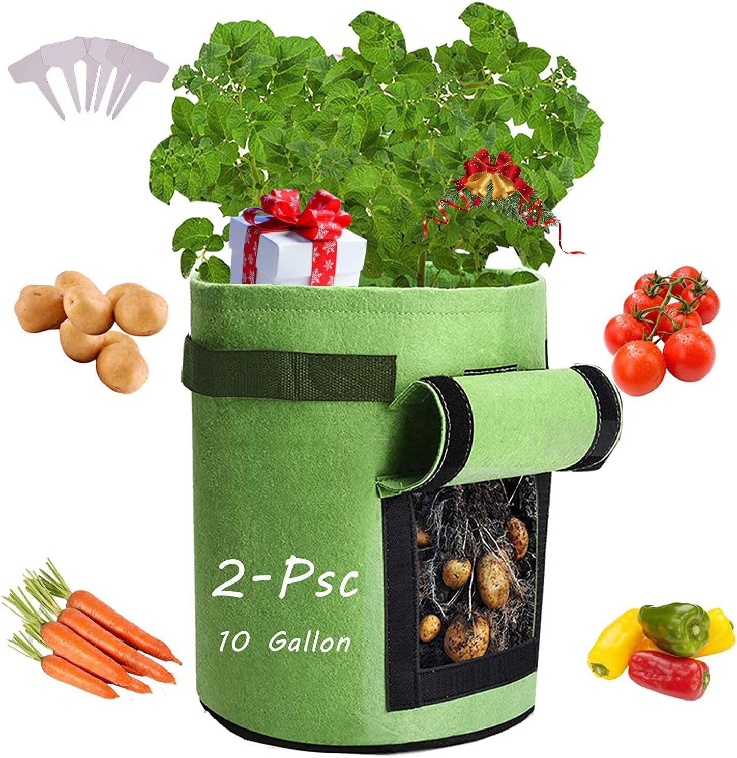 Qaxlry Potato-Grow-Bags, Potatoes Growing Containers with Handles&Access Flap for Garden,Vegetables,Tomato,Carrot, Onion,Fruits,Plants Planting Bag Planter (2-Pack)