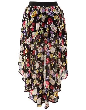 f549b6f6bb AX Paris Floral Dip Hem Maxi Skirt - Multi - Womens - 16: Amazon.co.uk:  Clothing