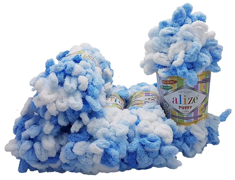 500 Gramm Fingerstrick Wolle Mehrfarbig super Bulky Schlaufenwolle Stricken ohne Nadel Alize Puffy Color 5 x 100 Gramm Strickwolle 5857 gelb bunt