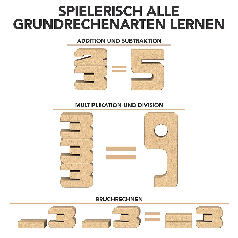 Einmaleins P/ädagogisches Material SumBlox Montessori Spielzeug Basis Set Zahlen Beim Spielen Mathematik 1x1 27 gro/ße Holz Bausteine aus massiver Buche in Form von Zahlen und Rechnen Lernen