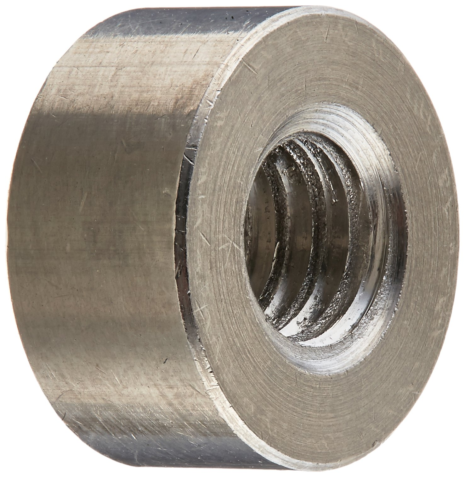 Round Standoff, Stainless Steel, Female, 1/4''-20 Screw Size, 0.5'' OD, 0.25'' Length, (Pack of 10)