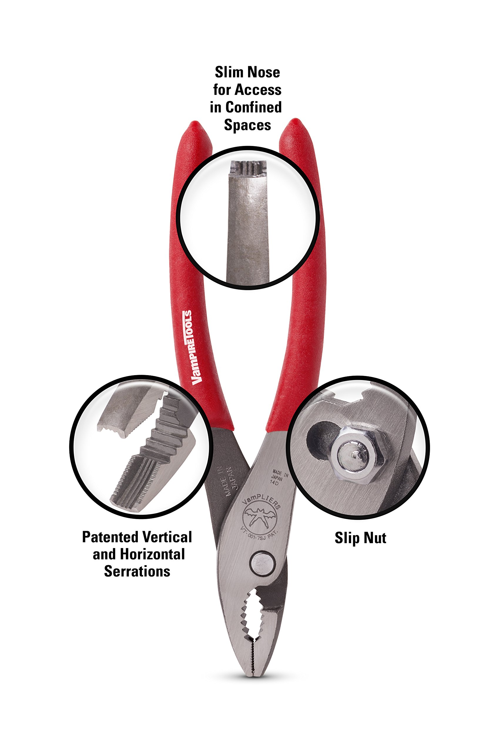 VAMPIRE PROFESSIONAL TOOLS VamPLIERS World's Best Pliers! 2-PC Set S2B Specialty Pliers. Extract Stripped Stuck Security, Corroded or Rusted Screws by VAMPIRE PROFESSIONAL TOOLS