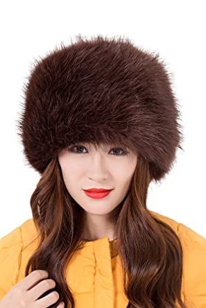 73f8046c i-Furzone Women Lady Faux Fox Fur Russian Cossack Hat (Brown ...
