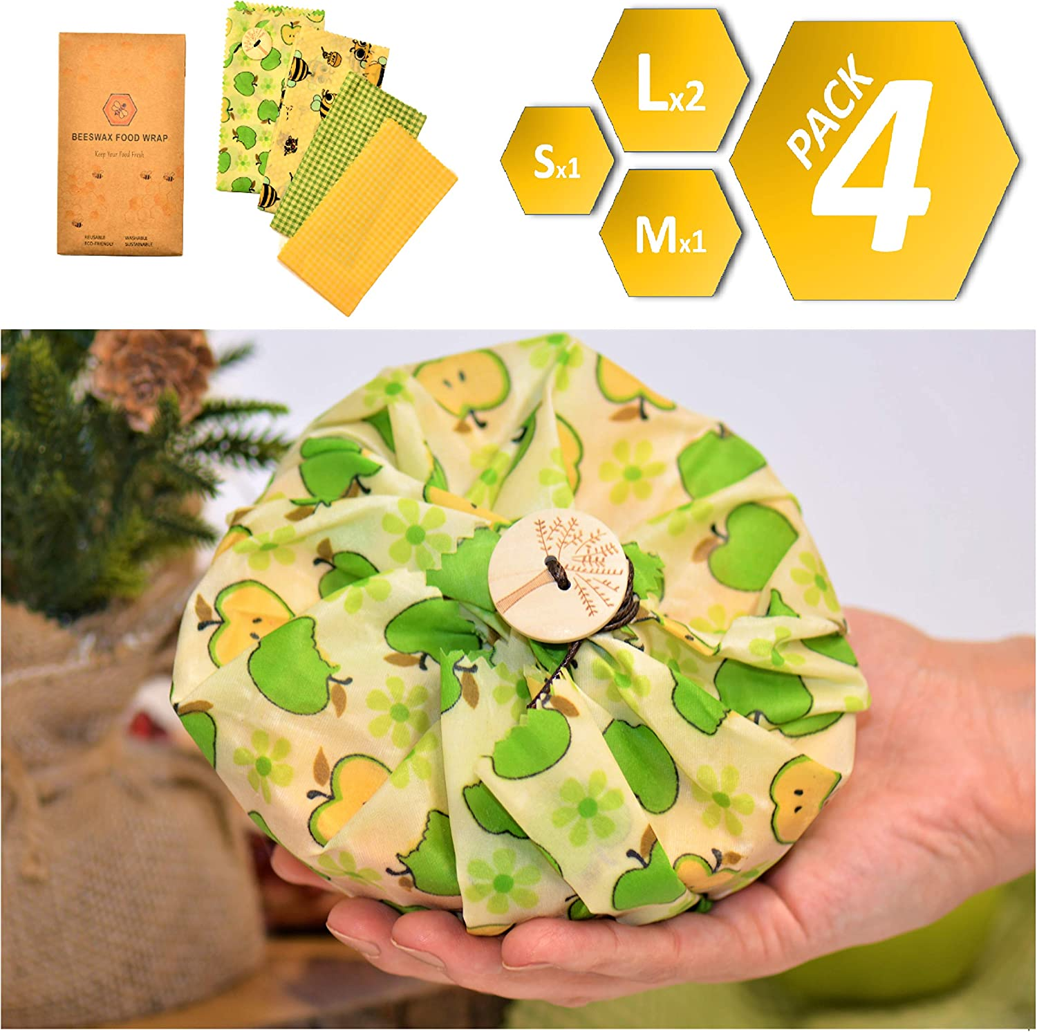 Beeswax Reusable Food Wraps | Saran Wrap Alternative | 4-pack | 2L 1M 1S | Plastic-Free Food Storage
