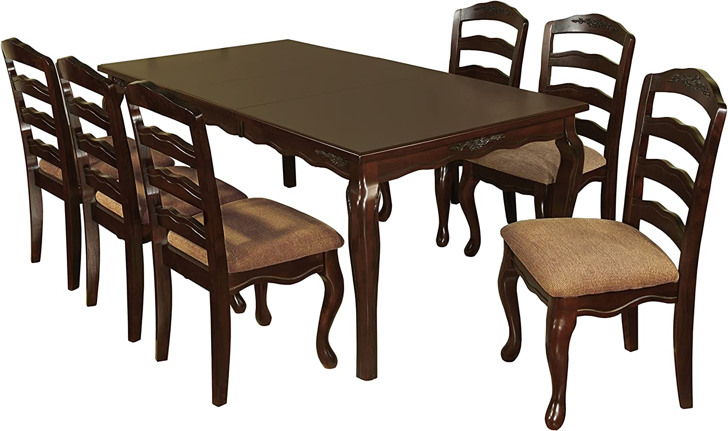 "HOMES: Inside + Out Kathryn 7 Piece Classic Style Dining Table Set with 18"" Expandable Leaf, Dark Walnut"