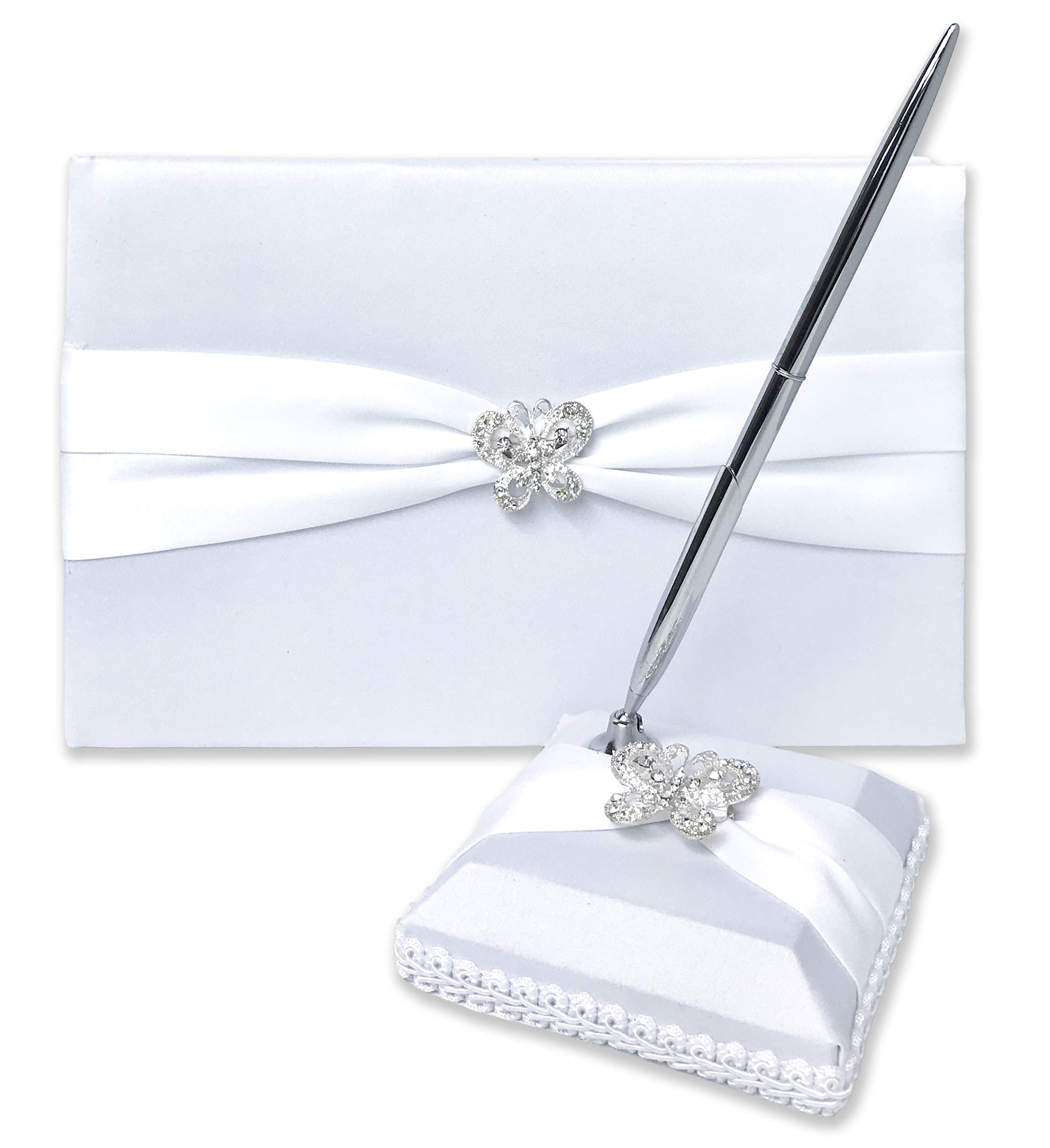 Wedding Guest Book and Pen Set   Guest Book Wedding Set with Lined Pages for Sign in   Butterfly Rhinestone and White Satin with Classic Touch