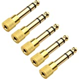 Cable Matters 5-Pack, Gold Plated 6.3mm (1/4 inch) to 3.5 mm Male to Female Stereo Adapter