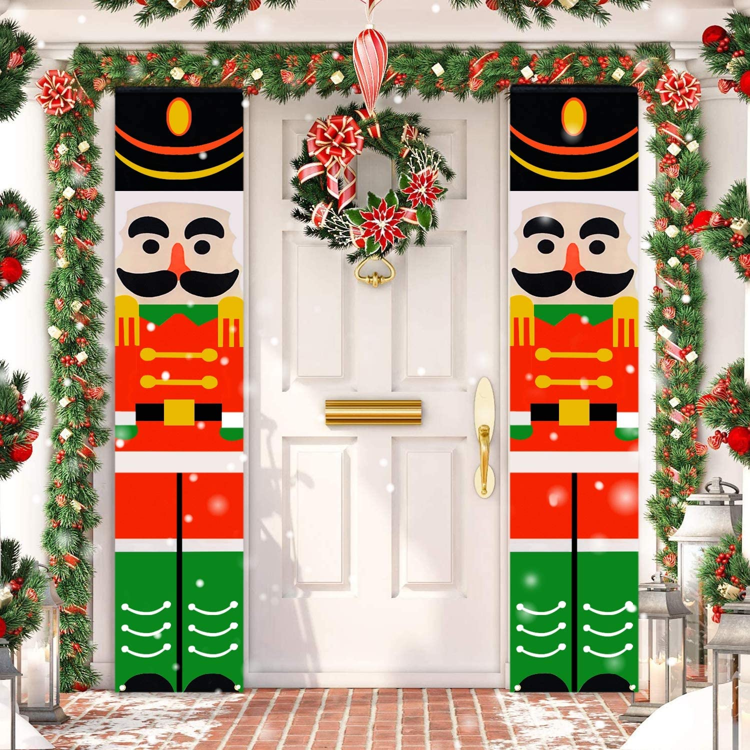 TOPLEE 2 PCS Christmas Nutcrackers Porch Banner 14 x 74 Inch Front Door Signs Xmas Decor Soldier Hanging Banner for Wall Outdoor Indoor Home Party Yard Holiday Christmas Decorations