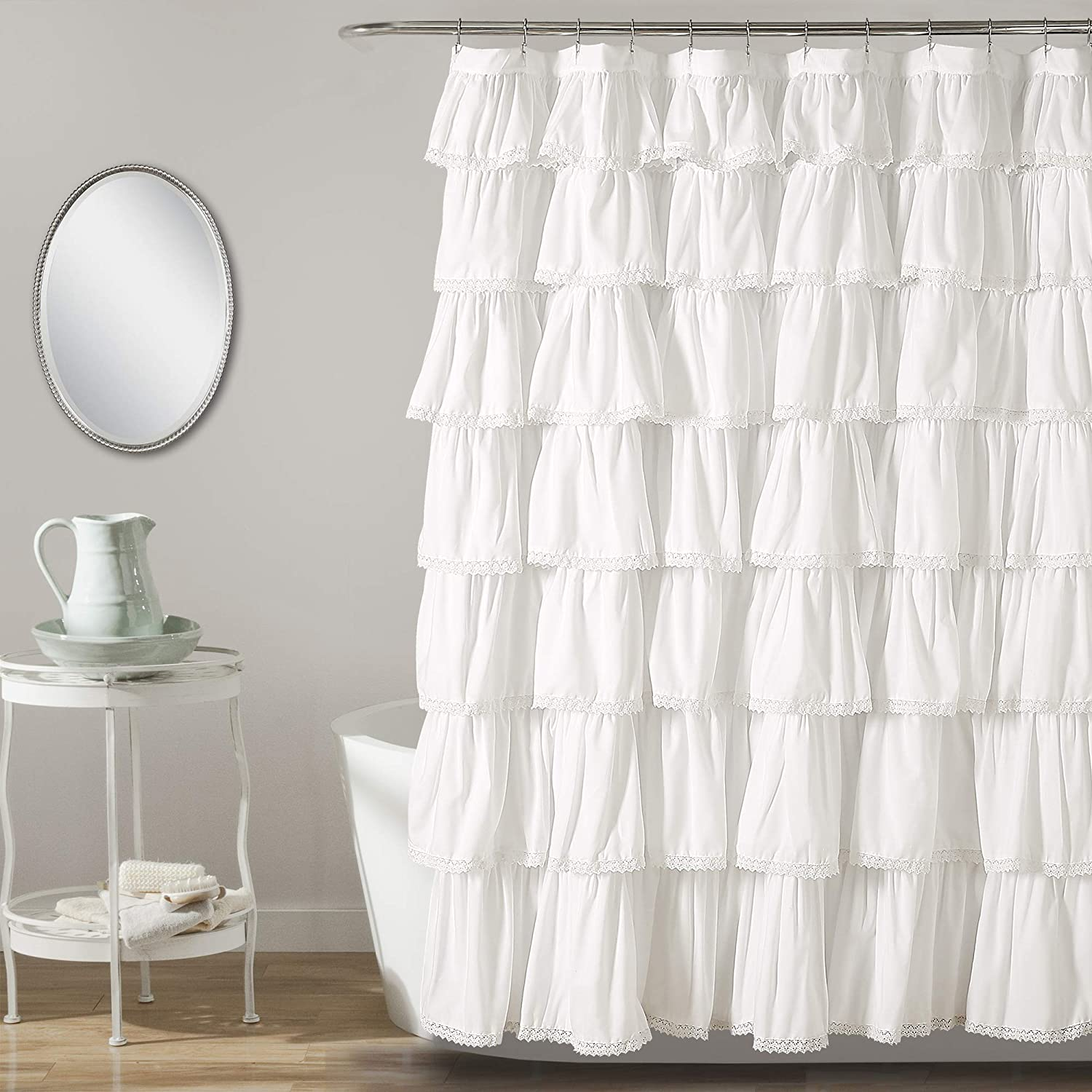 "Lush Decor, White Lace Ruffle Shower Curtain, L x 72"" W, 72"" 72"" W"