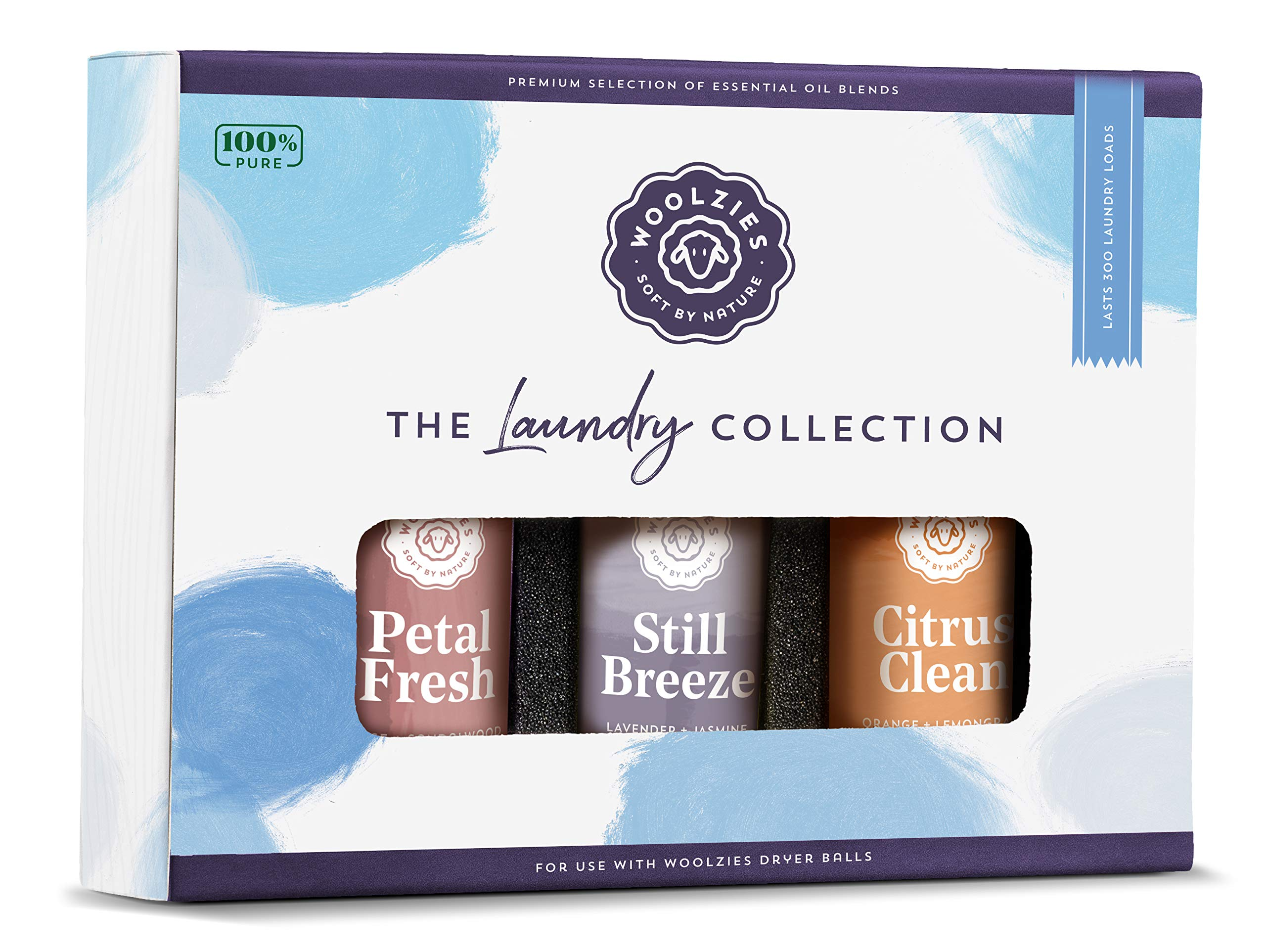 Woolzies Laundry Collection Essential Oil Set | 100% Pure Therapeutic Grade Aromatherapy Oil | Use with Wool Dryer Balls or Oil Diffuser | Gift Set includes Petal Fresh, Still Breeze, Citrus Clean by Woolzies