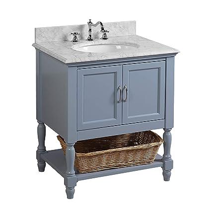 04efc4ad69d Beverly 30-inch Bathroom Vanity (Carrara Powder Blue)  Includes Authentic  Italian