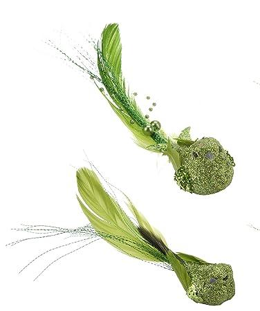 Basteln, Malen & Nähen 15-teilig Federn Deko Dunkelgrün Siebdruck