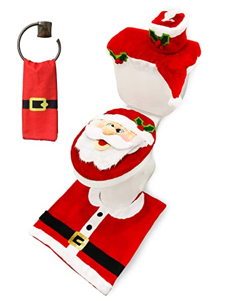 Surprising Joyin 5 Pieces Christmas Santa Theme Bathroom Decoration Set Includes Toilet Seat Cover Rugs Tank Cover Toilet Paper Box Cover And Santa Towel For Squirreltailoven Fun Painted Chair Ideas Images Squirreltailovenorg