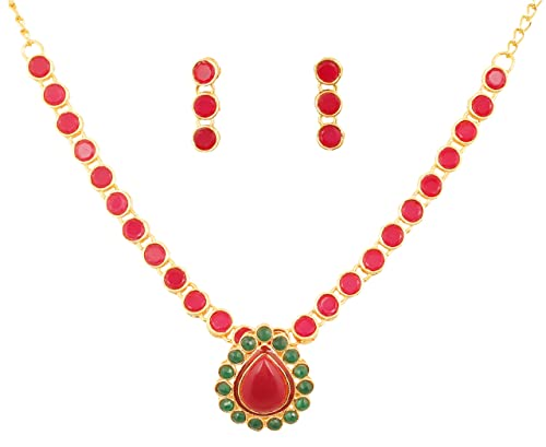 "c67384e83 Touchstone ""Contemporary Kundan Collection Indian Bollywood Studded  Pretty red/Lipstick red Faux Ruby"