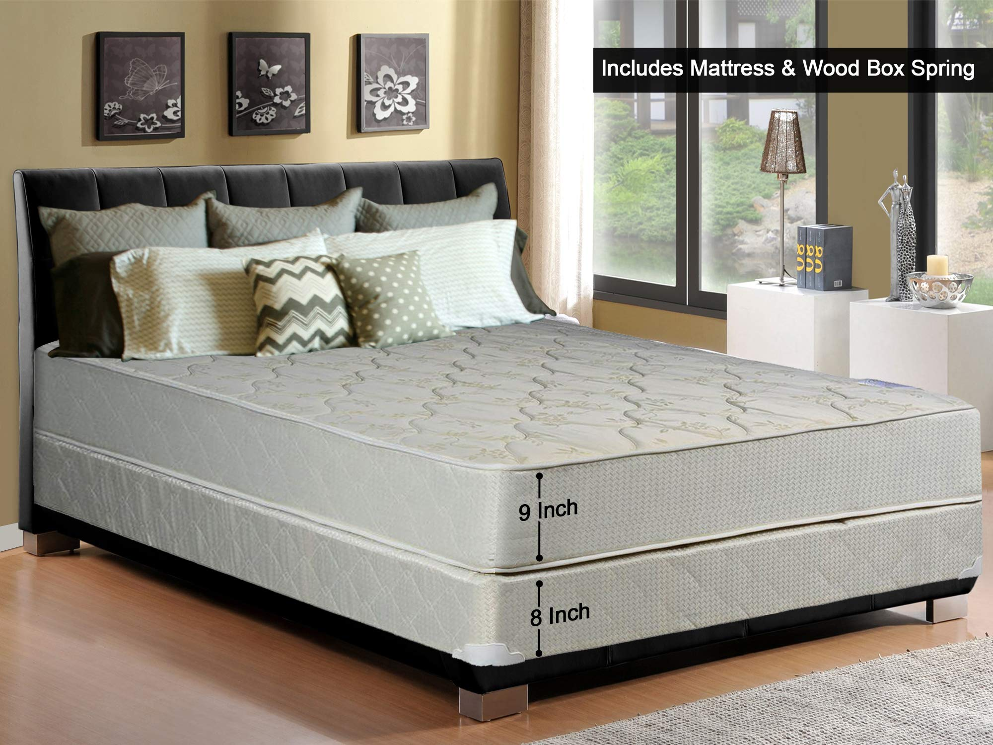 Continental Sleep, 9-inch Gentle Firm Tight top Innerspring Mattress and 8-inch Wood Traditional Box Spring/Foundation Set, Good for The Back, No Assembly Required, Full Size