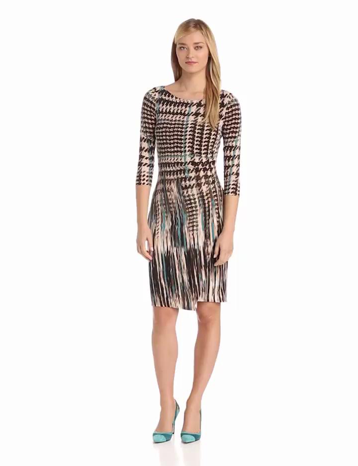 Anne Klein Womens Pleated Long Sleeve Jersey Sheath Dress