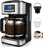 Coffee Maker, Aicok Filter Coffee Machine, 12 Cup Programmable Coffee Makers, 1.5 liters Clock/Timer Coffee Machine, Anti-Drip System, Permanent Reusable Filter, Black and Silver.