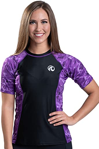 Aqua Design - Camiseta de Manga Corta para Mujer, diseño de Surf de Gran Onda, Ajuste Holgado, para Atletismo, Color Liquid Purple Black, tamaño Medium: Amazon.es: Deportes y aire libre
