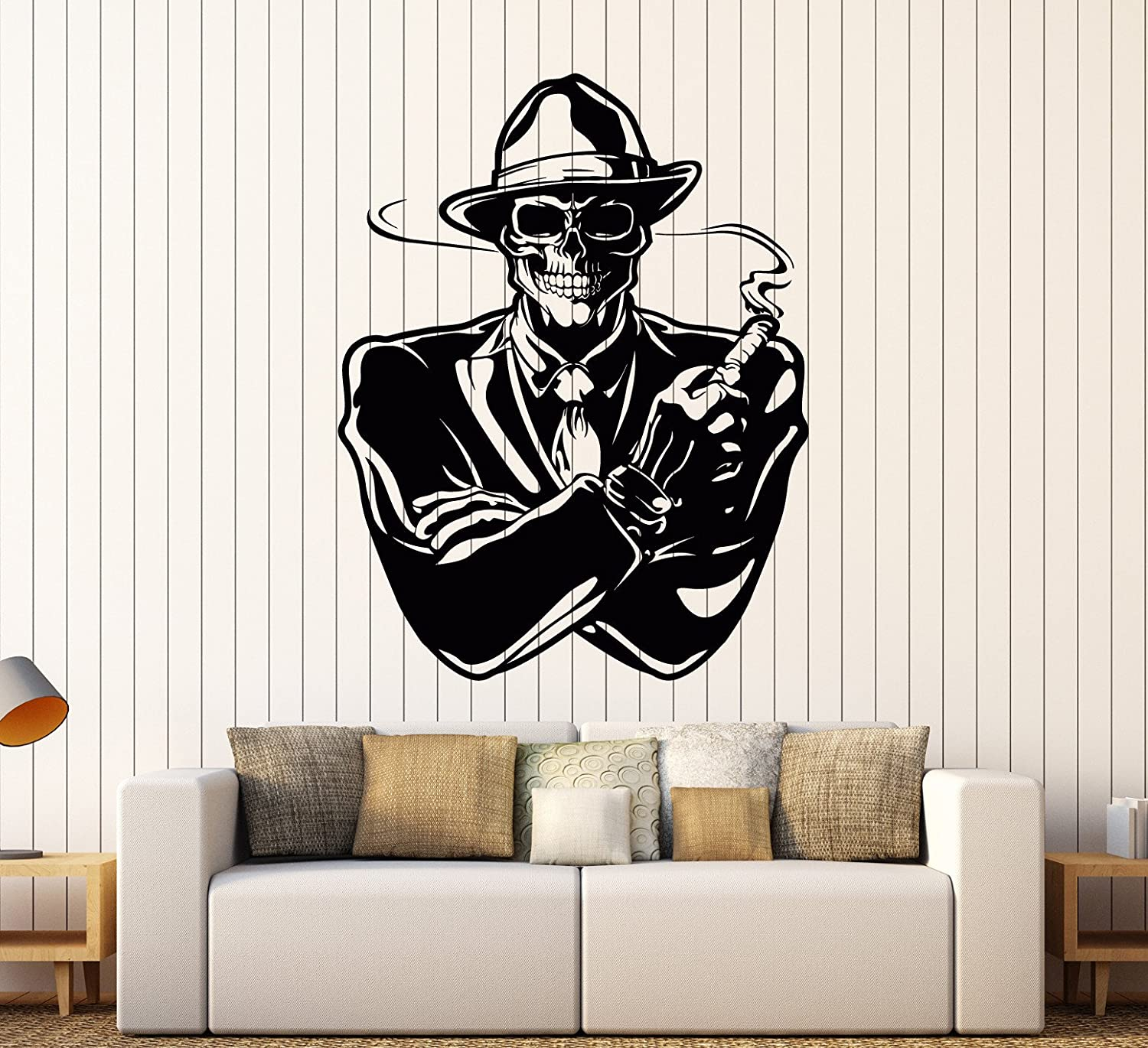 Vinyl Wall Decal Gangster with Cigar Dead Skull Mafia Stickers Large Decor (ig4050) Matte Black