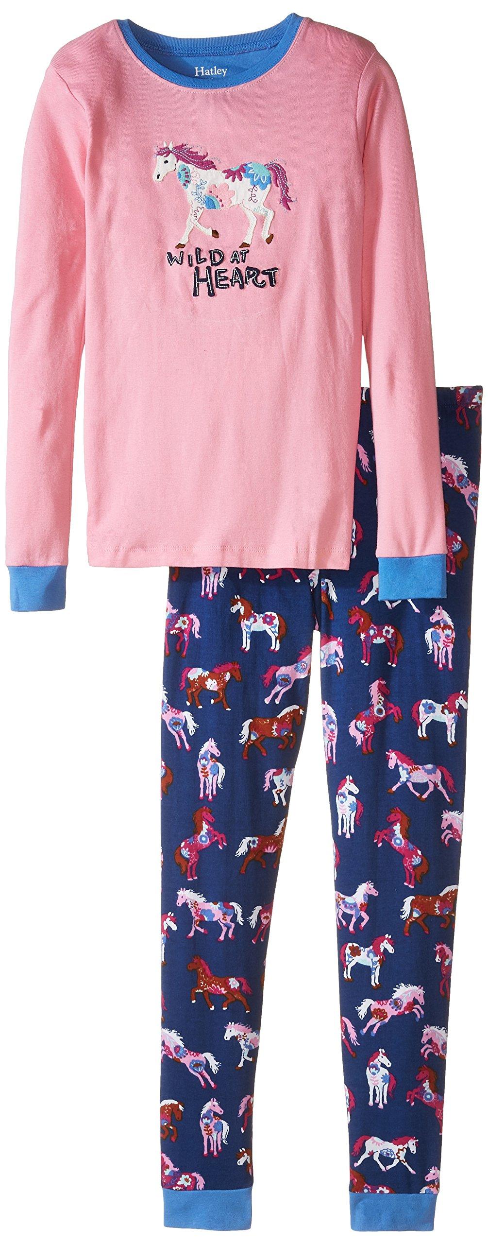 Hatley Little Girls' Pajama Set Applique - Flower Horses, Pink, 7