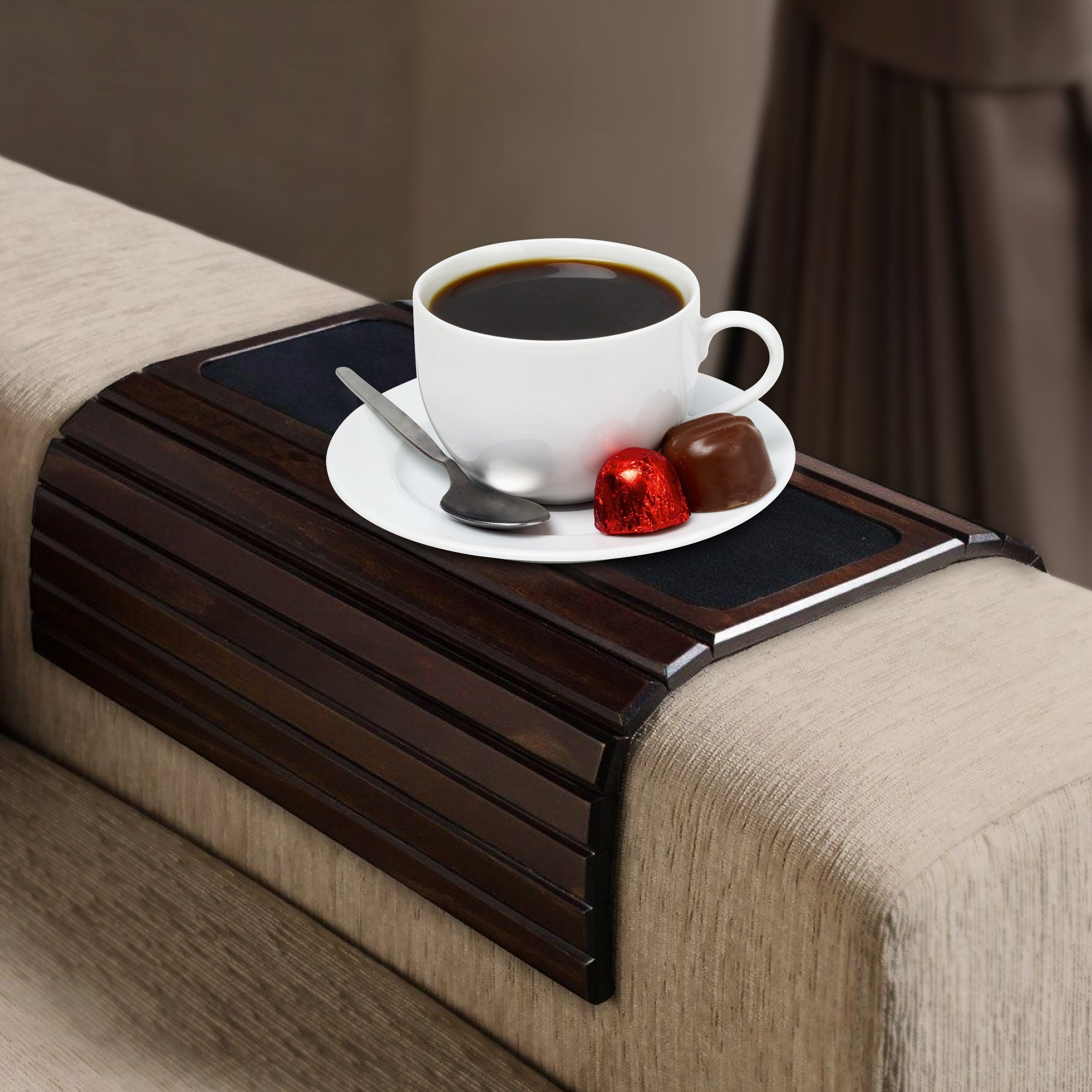 Hoovy Sofa Arm Tray Table: Wood Side Table Tray| Flexible, Portable & Folding Couch Drink Holder